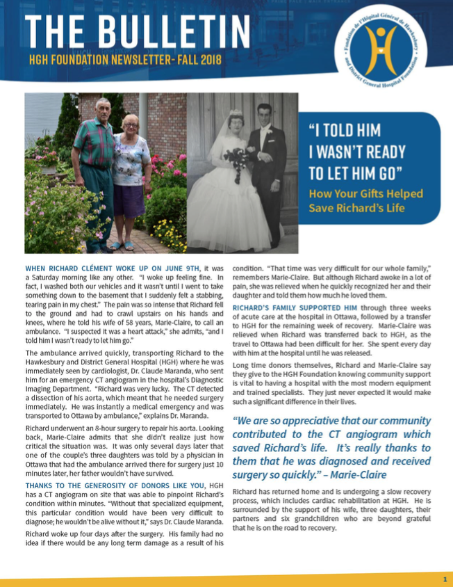 Cover page of Fall 2018 Newsletter featuring Marie-Claire and Richard Clément's story