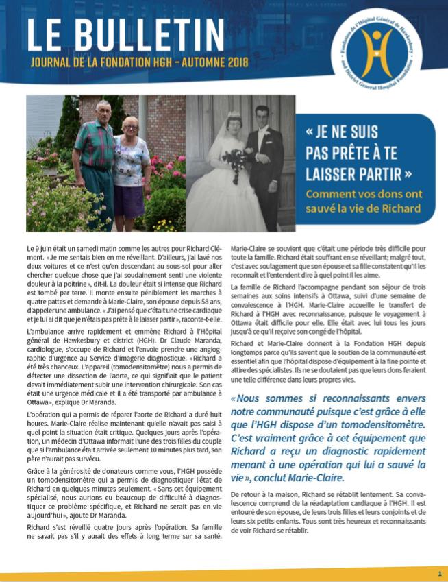 Page couverture Bulletin Automne 2018 présentant l'histoire de Marie-Claire et Richard Clément