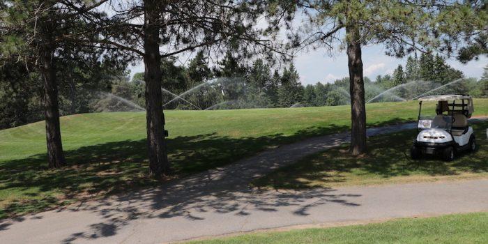 Golf cart at golf tournament