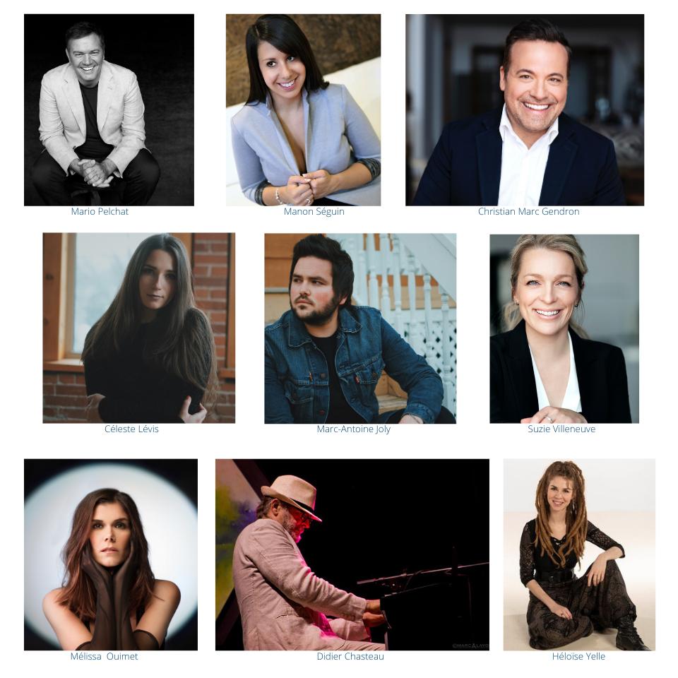 Les artistes en vedette dans le spectacle virtuel du 8 novembre 2020