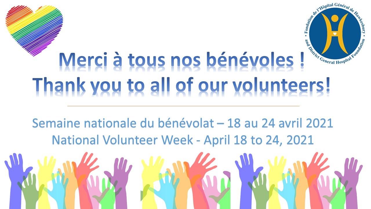 National Volunteer Week is April 18 to 24, 2021