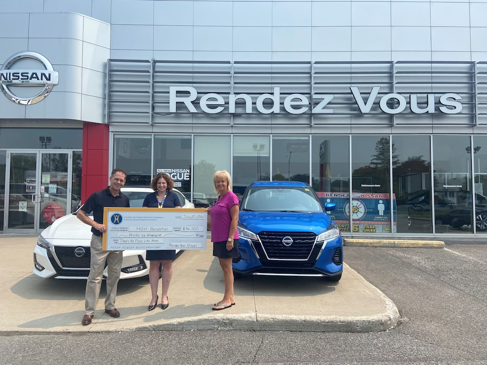 A $ 36,000 cheque from Rendez-Vous Nissan is presented to the HGH Foundation. Pictured (from left to right) are: Doug Kego, Erin Tabakman and Diane Pouliot.