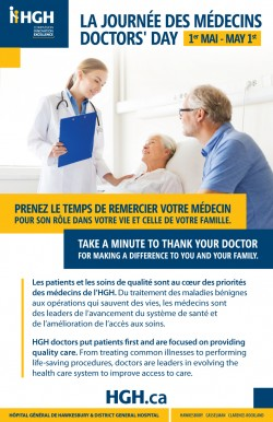 May 1st is Doctor's Day. Take a minute to thank your doctor.