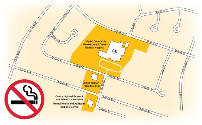 La carte indique les terrains de l'HGH visés par l'interdiction de fumer.