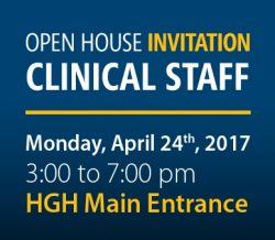 Invitation to clinical staff for HGH open house on April 24, 2017