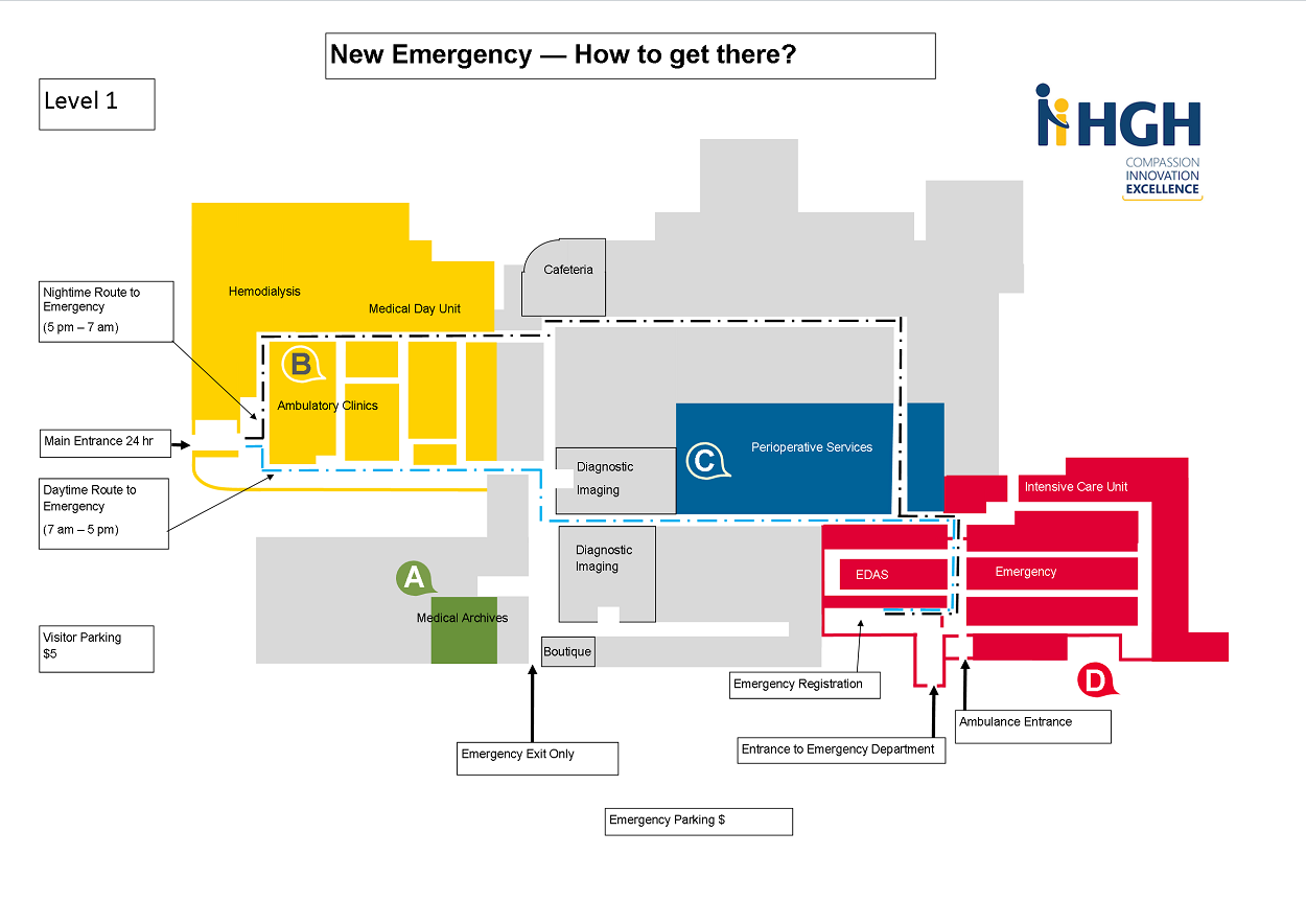 Floor plan - How to get to HGH Emergency