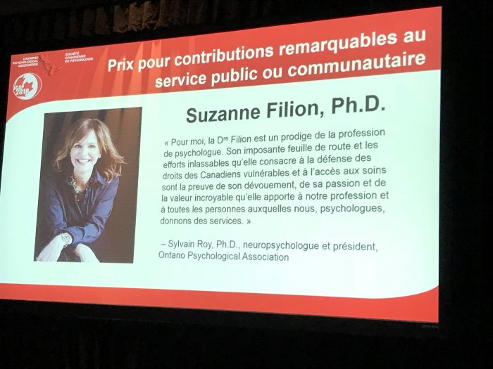 Dr. Suzanne Filion received award from the Canadian Psychological Association