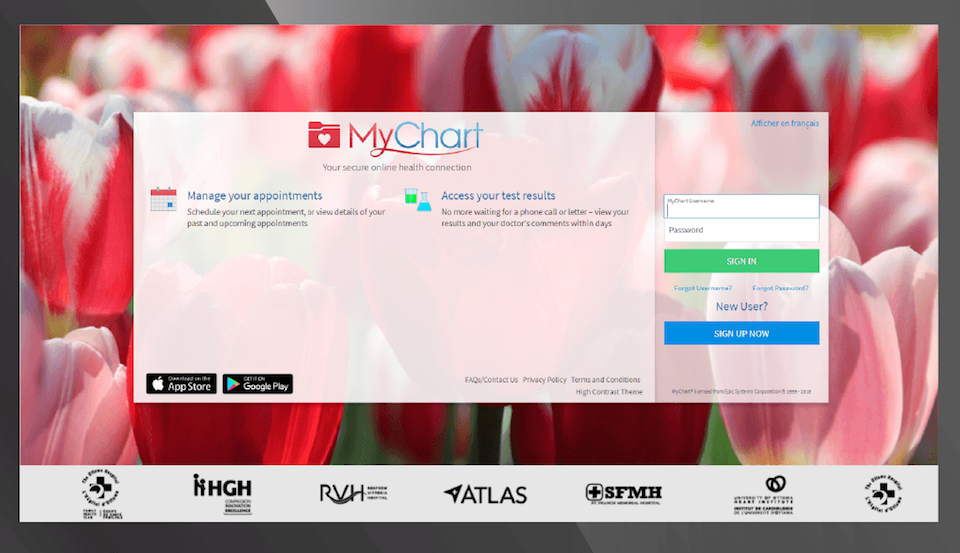 MyChart sign up screen